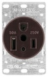 1254-box Eaton Power/single Flush Straight Blade 250 Volts Black Glass Reinforced Nylon Electrical Receptacle CAT752C,1254-BOX,032664306709