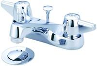 1137-da Central Brass Polished Chrome Ada Lf 4 Centerset 3 Hole 2 Handle Bathroom Sink Faucet 1.5 Gpm CAT152,15101801,70A,1137DA,15200207,763439024404,30763439024405