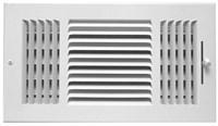 01050606cw 140 6 X 6 Bright White Enamel Steel 3- Way Register CAT350,14066,999000019805,1050606,053713857553,1050606CW,RG66,3W66