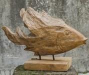 17084 D-w-o Teak Fish 19x12 Figurine CATDUTT,17084,CATDUTT,