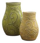 19695 D-w-o Trailing Leaves Ceramic S/2 CATDUTT,19695,CATDUTT,