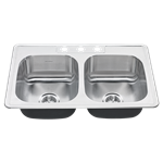 20db.8332283s.075 Ams Stainless Colony 50/50 Double Bowl W/ Waste Fitting 3 Hole 20 Gauge Top Mount