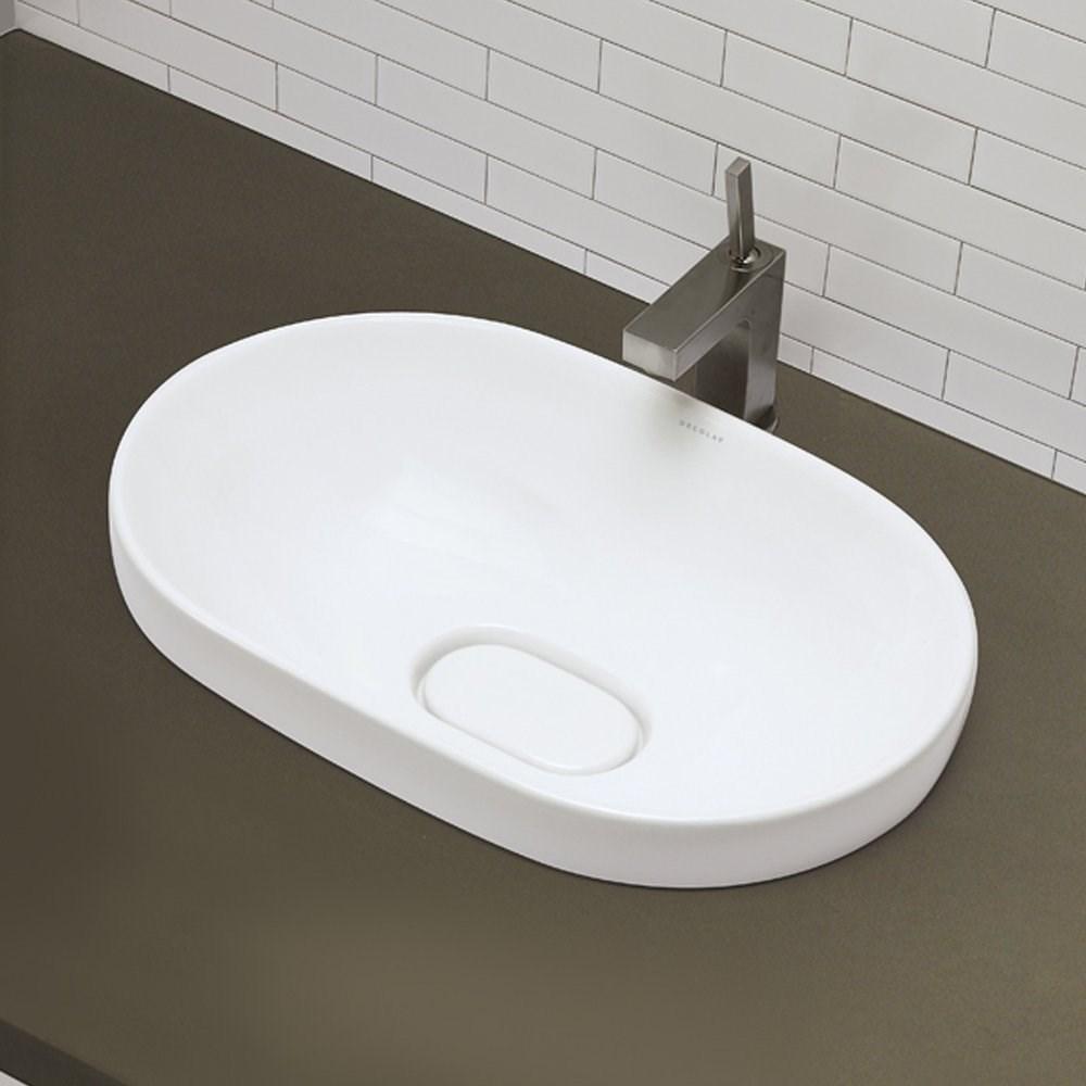 Decolav Decolav White Semi Recessed Vitreous China Bathroom Sink With Recessed Drain