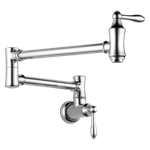 1177-lf Delta Traditional Pol Chrome Lf 1 Hole 2 Handle Pot Filler CAT160FOC,1177-LF,1177LF,034449649568,