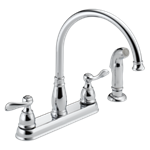 21996lf Delta Chrome Windemere Two Handle Kitchen Faucet CAT160F,21996LF,034449604857,34449604857,