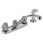 2400lf Delta Chrome 2100 / 2400 Series Two Handle Kitchen Faucet With Spray CAT160,2400LF,034449620079,green,LEADFREE,DELTA GREEN,34449620079
