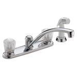 2402lf Delta Chrome 2100 / 2400 Series Two Handle Kitchen Faucet With Spray CAT160,2402LF,2402LF,2402LF,034449620086,34449620086