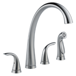 2480-ar-dst Delta Arctic Stainless Pilar Two Handle Widespread Kitchen Faucet With Spray CAT160FOC,2480-AR-DST,034449642224,34449642224,