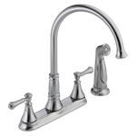 2497lf-ar Delta Arctic Stainless Cassidy Two Handle Kitchen Faucet With Spray CAT160FOC,2497LF-AR,2497LF-AR,034449685313,34449685313,