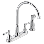 2497lf Delta Chrome Cassidy Two Handle Kitchen Faucet With Spray CAT160FOC,2497LF,34449685306,034449685306