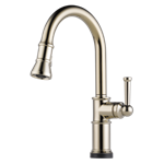 64025lf-pn Brizo Polished Nickel Artesso Single Handle Pull-down Kitchen Faucet With Smarttouch Technology CAT160BR,64025LF-PN,034449734905,34449734905