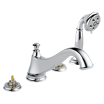 T4795-lhp Delta Chrome Cassidy Roman Tub Trim With Hand Shower - Low Arc Spout - Less Handles CAT160FOC,T4795-LHP,034449681704,T4795LHP,34449681704,