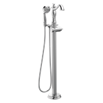T4797-fl-lhp Delta Chrome Cassidy Single Handle Floor Mount Tub Filler Trim With Hand Shower - Less Handle CAT160FOC,T4797-FL-LHP,T4797FLLHP,034449764117,34449764117
