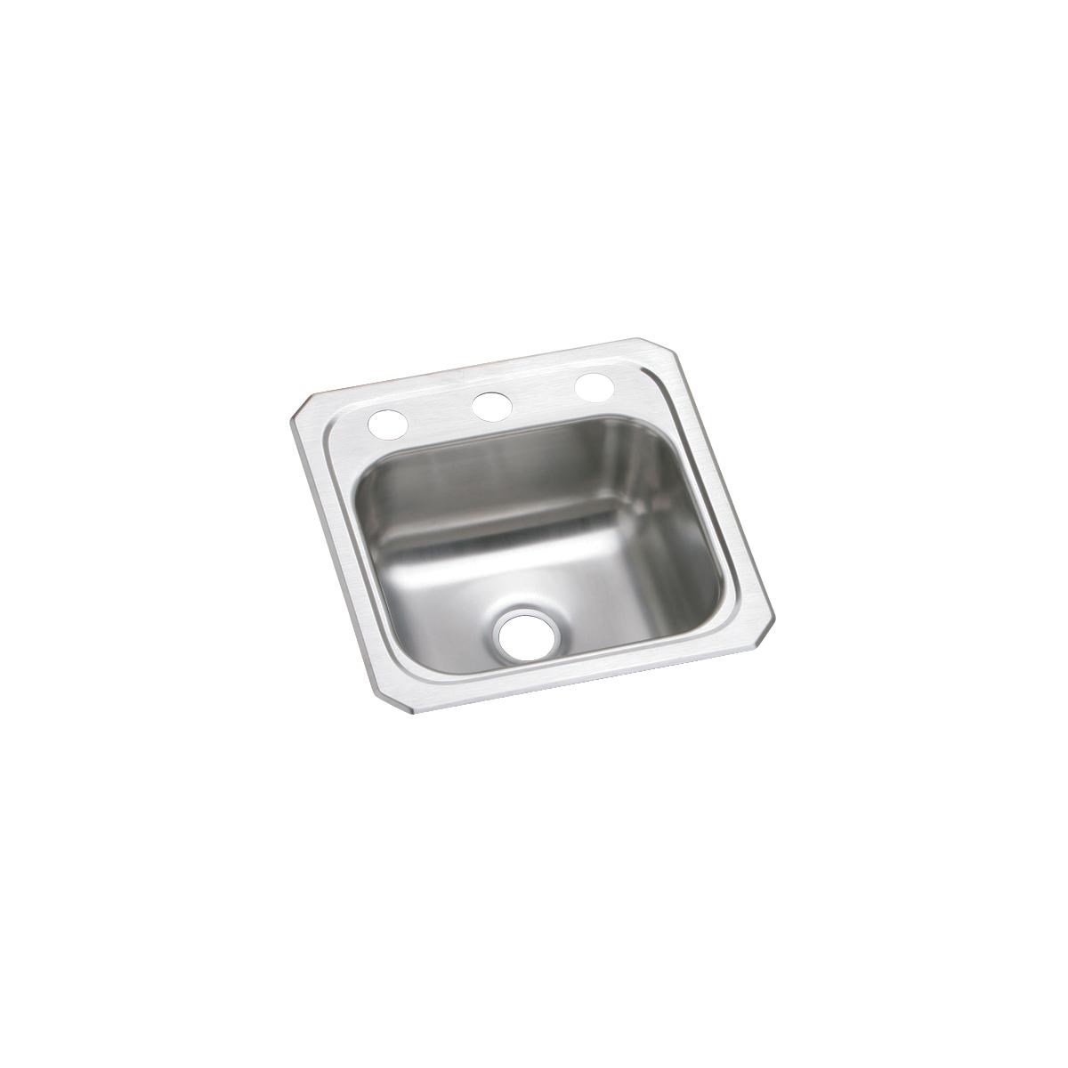 Elkay Mfg Co 15 X 15 X 6 Three Hole 20 Gauge Elkay Celebrity Hospitality Stainless Steel Bar Sink Without Faucet Ledge
