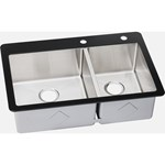 Ectgro33229r2r Elkay 18 Gauge Stainless Steel 31.5in X 16in X 9in Double Bowl Top Mount Kitchen Sink With Glass