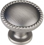 Z115bnbdl Bright Nickel Brushed With Dull Lacquer 1-1/4 Diameter Zinc Die Cast Cabinet Knob With Rope Trim