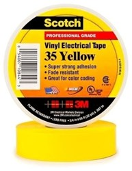 35-yellow34 3m 3/4 X 66 Yellow Vinyl Electrical Tape CAT721,S3566YEL34,35YF,35YELLOW,ETY,YET,ET,054007108443,3MT,10844,3METY,3MET,3M-10844,005400710844,