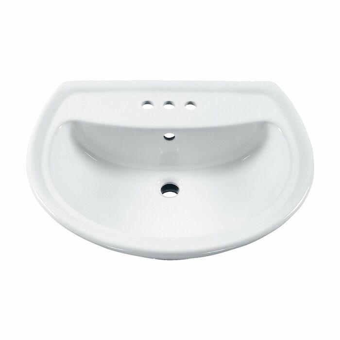 American Standard 0236004020 American Standard White Cadet 3 Hole 4 In Centerset Pedestal Sink