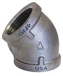 1 Black Mal Iron Standard 45 Elbow Domestic CAT442D,DB45G,BD45G,Y45G,48,20662467328802,69029134682