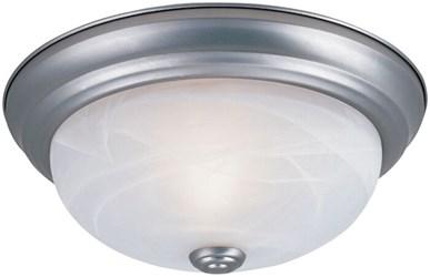1257s-pw-al 2 Lt 11 X 4-1/2 Pewter/white Alabaster Glass Flush Mount CATDEF,DF1257SPWAL,046335838949