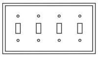 Pj4la Cooper Light Almond 4 Gang 4-toggle Switch Mid Size Wall Plate CAT752C,PJ4LA,032664580307,032664751158