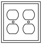 Pj82w Cooper White 2 Gang 2-duplex Receptacle Mid Size Wall Plate CAT752C,PJ82W,032664580789,2GRW,032664751547