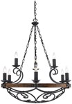 1821-9 Bi Madera 9 Lt Black Iron Metal Wood Chandelier CATGOL,1821-9 BI,844375015944