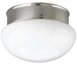 P3408-09 Fitter 1 Lt Brushed Nickel Steel Body Glass Bowl Semi Flush Mount CAT731,P3408-09,785247135042