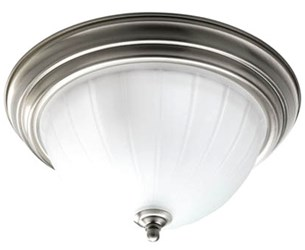 P3817-09 Melon 2 Lt Brushed Nickel Steel Body Etched Ribbed Glass Bowl Semi Flush Mount CAT731,P3817-09,785247147328
