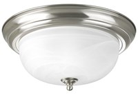 94392509 Melon 2 Lt Brushed Nickel Steel Body Alabaster Glass Bowl Semi Flush Mount CAT731,P3925-09,785247159840,P392509