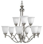 P4509-81 Renovations 9 Lt Antique Nickel Steel Body Etched Glass Shade Chandelier CAT731,P4509-81,P4509-81,785247133918