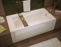 106170-000-001 Maax Exhibit 59.875 In X 36 In Drop-in Bathtub With End Dra In White CATMAX,