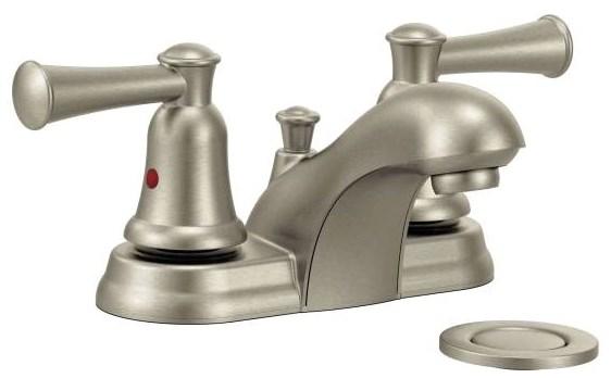 Moen Incorporated Moen Capstone Brushed Nickel Ada Lead Free 4 In Centerset 3 Hole 2 Handle Bathroom Sink Faucet 1 2 Gpm