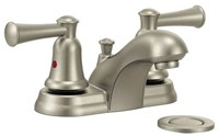 Ca41211bn Moen Capstone Brushed Nickel Ada Lf 4 Centerset 3 Hole 2 Handle Bathroom Sink Faucet 1.2 Gpm