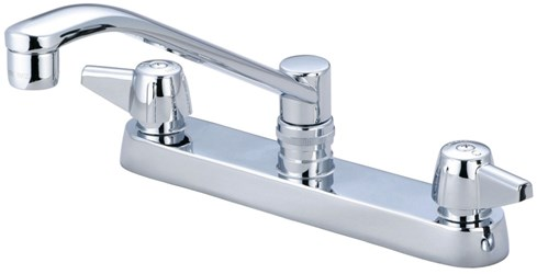 0122-a Central Brass Ada Pol Chrome Lf 8 In Centerset 3 Hole 2 Handle Kitchen Faucet CAT152,CL349,763439010261,122A,15205305,30763439010262