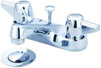 1137-da Central Brass Polished Chrome Ada Lf 4 Centerset 3 Hole 2 Handle Bathroom Sink Faucet 1.5 Gpm
