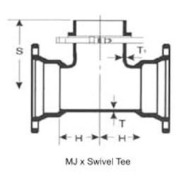 Ssb 12 X 12 X 6 C153 Di Mj X Mj X Swivel Tee Mechanical Joint L/acc CAT683,DMH126,IMJHT12P,CMJTH1206,68301125,138518,138518,138518,138518,670610138518,TYL138518,MFGR VENDOR: SIGMA,PRCH VENDOR: SIGMA,