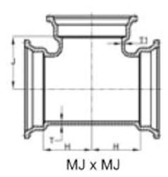 Ssb 10 C153 Di Mj X Mj X Mj Tee Mechanical Joint L/acc CAT683,IMJT10,DMT1010,CMJT1010,68300940,
