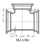 Ssb 6 X 6 X 3 C153 Di Mj X Mj X Mj Tee Mechanical Joint L/acc CAT683,DMT63,IMJT,CMJT0603,68300860,101314,670610101314,TYL101314,DTPM,FDIMJT0603,FDI,