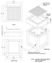 30 X 30 X 36 Concrete Catch Basin W/ Grate CAT663,30X30X36,