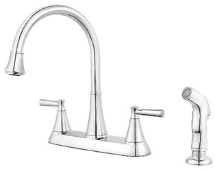 F-036-4crc Pfist Cantara Ada Pol Chrome Lf 8 In Centerset 3 Or 4 Hole 2 Handle Kitchen Faucet With Matching Side Spray CAT162,MFGR VENDOR: PFISTER,PRCH VENDOR: PFISTER,F0364CRC,