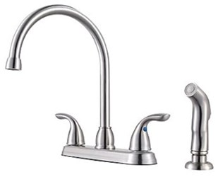 G136-500s Price Pfister Pfirst Series Ada Ss Lf 8 Centerset 4 Hole 2 Handle Kitchen Faucet With Matching Side Spray CAT162,G136500S,038877575369,G136500S,38877575369,
