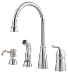 Gt26-4cbs Avalon Ada Stainless Lf 4 To 10 In Widespread 3 Or 4 Hole 1 Handle Kitchen Faucet With Matching Side Spray CAT162,GT264CBS,038877546482,T264CBS,T26-4CBS,38877546482,