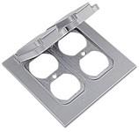 2ccd Weatherproof Die Cast Aluminum Vertical Flip Cover 2 Gang Duplex Outlet Gray CAT751U,2CCD,042269350502,HUB51480,WPC28,51480,SHLTP7228,04226935050,