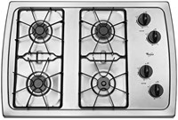 Whirlpool 30 Stainless Steel Cooktop Sealed Natural Gas CAT302W,883049227634,GCT30