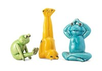 13534-3 Yoga Frog Statuaries - Set Of 3