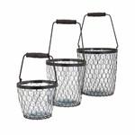 10491-3 Imax Ty Honeybee Glass Buckets-set Of 3