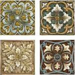 12764-4 Imax Casa Medallion Tiles-set Of 4