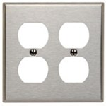 84016 Leviton Brushed Stainless Steel 2 Gang 2-duplex Receptacle Standard Wall Plate CAT752,L84016,43040,07847743040