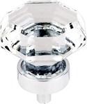 Tk128pc Clear Octogan Crystal Knob 1 1/8 W/ Polished Chrome Base
